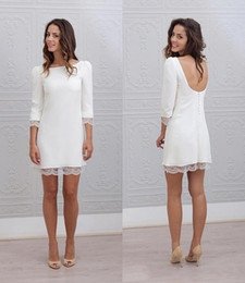 Wholesale Sexy Mini Beach Wedding Dress - Designer Simple Short Mini Sheath Fitted Wedding Dresses Long Sleeves Sexy Backless Beach Casual Reception Bridal Gowns