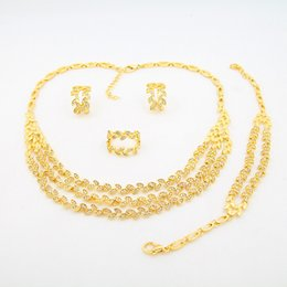 Wholesale 24k Gold Plated Jewelry - 2016 new 24k gold plated alloy Jewelry Set 4 small leaves have a diamond shape elegant beautiful golden four sets