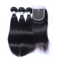 Wholesale Malaysian Hair Free Shipping - Straight Hair Weft With Closure Unprocessed Brazilian Indian Malaysian Peruvian 7A Quality Human Hair Natural Color DHL Free Shipping