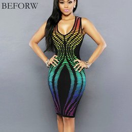 Wholesale tight office dresses - Wholesale- BEFORW Sexy Women Dress Fashion Casual Summer Sleeveless Dresses Office Printing Sexy Slim Tight Nightclub Party Dress Plus Size