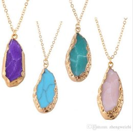 Wholesale Natural Agate White - 2016 New Handmade Natural Stone Agate Crystals Druzy Covered with gold Pendant Necklaces for Women Irregular Quartz Chain Necklace