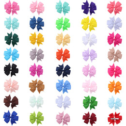 Wholesale Hair Color Pack - New Coxeer 40Pcs Pack Ribbon Bow Hair Clip Pure Color Hairpin Hair Accessories For Baby Girls Kids Teens Toddlers Children