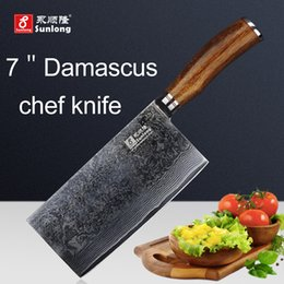 Wholesale Steel Chefs Knives - Sunlong 7 inch Slicing Knives Damascus steel kitchen knife Cleaver Chef Knives high quality VG10 Vegetable Meat Knives