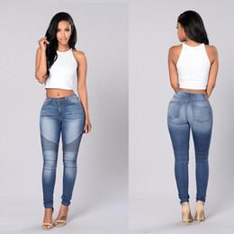 Wholesale Ladies Jeans Pants - Blue Jeans Women Pencil Jeans High Waist pants Sexy Slim Elastic Skinny Pants Trousers Fit Lady Spandex Jeans