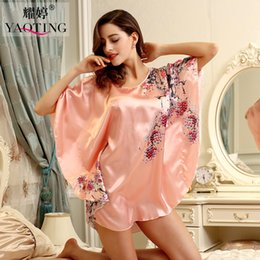 Wholesale Wholesale Womens Sexy Dresses - Wholesale- womens nightdress silk robe woman sleepshirts satin pajamas femme print sleepwear female pjs summer night dress sexy nightgown