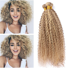 Wholesale Highlighted Extensions - Kinky Curly #8 613 Piano Mix Color Human Hair Wefts Extensions 3Pcs Virgin Peruvian Highlight Brown Blonde Piano Color Human Hair Bundles