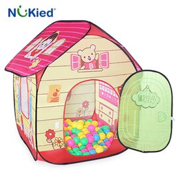Wholesale Cartoon Outdoor Games - NUKied Girl Princess Casrle Protable Fldable Tent Pop-up Outdoor Garden Cute Playhouse Children Play Cubby Kids Gift Game House