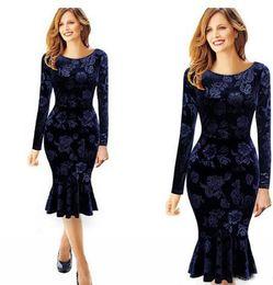 Wholesale Mermaid Mid Length Dress - New Cheap Royal Blue Velvet Long Dresses Women Fashion Casual Dresses Mermaid Pencil Bodycon Mid-Calf Ruffle Spring Autumn Women Wear