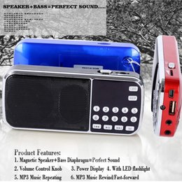 Wholesale Rechargeable Portable Radio Speaker - L-088AM dual band rechargeable portable mini pocket digital AM FM radio speaker with USB port TF micro SD card slot