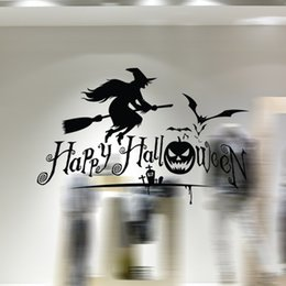 Wholesale Witches Wall Stickers - aw9427 Creative Cartoon Halloween Witch Broom Bat Living Room Wall DIY Removable Vinyl Wall Stickers TV Wall Sofa Background