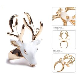 Wholesale Precious China - 2 Styles Statement Deer Head Open Cuff Rings for Women Enamel Copper Fashion Precious Jewelry Black White Accessories Rings B647S