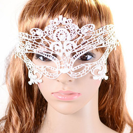 Wholesale Sexy Masquerade White Lace Mask - Halloween Sexy Masquerade Masks Black White Lace Masks Venetian Half Face Mask for Christmas Cosplay Party Night Club Ball Eye Masks