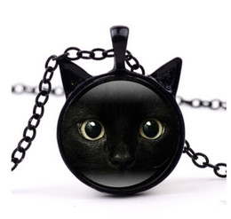 Wholesale Cat Face Necklace - 2017 New Black Cat Pendant Cat Face Necklace Cat Ear Jewelry Girls Glass Cabochon Necklace MOQ 30 pcs free shipping