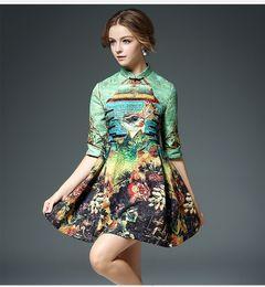 Wholesale Cheongsam Knot - 100% Cotton Jacquard Skirt Autumn 2016 Chinese Knot Cheongsam Style Peacock Printing Stand Collar Half Sleeve Dress