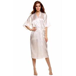 robes de bain blanches Promotion Vente en gros-vente chaude femmes blanches soie rayonne robe Sexy Kimono robe de bain chemise de nuit Classy Nightdress Plus taille S M L XL XXL XXXL