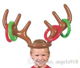 Wholesale Christmas Decoration Pvc - Christmas Cute Deer Head Shape Ferrule Game Tools For Kids Inflatable Toys Balloons Party Birthday Decoration Outdoor Game Toys E1708