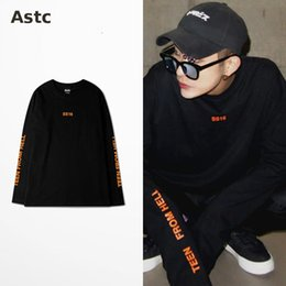 Wholesale South Korea Men S Fashion - Ss16 T Shirt South Korea Ulzzang Vintage Orange Harajuku Letter Oversize Long Sleeve T Shirt Ins Style Hip Hop Fashion T-shirt