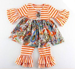 Wholesale Striped Ruffle Pants - baby clothes fall autumn toddler girls long sleeve floral dresses + ruffle pants striped kids boutique outfits cotton clothing set wholesale