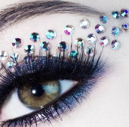 Wholesale Eyeshadow Tattoos - Fashion Sexy Diamond Temporary Eye Tattoo Water Transfer Eyeliner Party Eyeshadow Face Sticker Beauty Cosmetic Designs Eye Rock