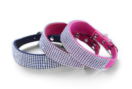 Wholesale Wholesale Wide Leather Dog Collar - Sparkling Crystal Leather Dog Collar Alloy Rivets Wide Semicircle Buckle Pet Collar Dog 3 Colors for Pick