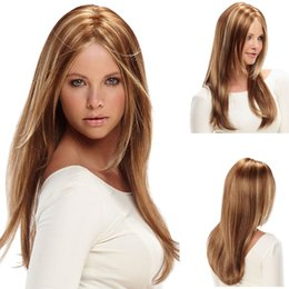 Wholesale Mixed Colour Straight Wig - High Quality heat resistant ombre wigs synthetic hair mixed colour wig ladies wigs cosplay long straight wig with middle part