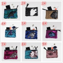 Wholesale Glitter Coin Purses Wholesale - Women Reversible Sequins Mermaid Glitter Handbag Evening Clutch Bag Wallet Purse makeup Bags Storage Coin bag G156