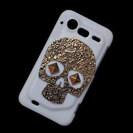 Wholesale Incredible S G11 - 3D Skin Shell for HTC Incredible S G11, Vintage Retro Bronze Metallic Skull Skeleton Punk Rivet Stud Studded Hard Back Protective Case Cover