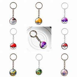 Wholesale Metal Logos Plate - Anime Poke GO Ball Logo Key Rings Antique Bronze Silver Plated Gemstone Keychains Mixed 8 Designs Charm Jewelry For Women Men Fans