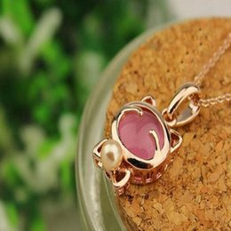 Wholesale Super Cute Korean - Korean jewelry super Meng cute Lucky cat Mr. cat opal necklace collarbone chain men S084