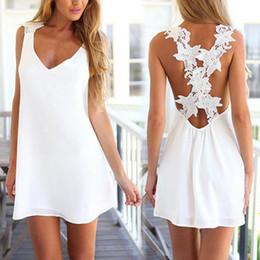 Wholesale Sexy Beach Miniskirts - Women dress 2016 casual dress Sexy halter women without back V neck collar casual crochet lace miniskirt Beach