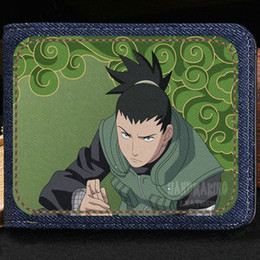 Wholesale Naruto Leather Wallet - Nara Shikamaru wallet Naruto anime purse Ninja cartoon short cash note case Money notecase Leather burse bag Card holders