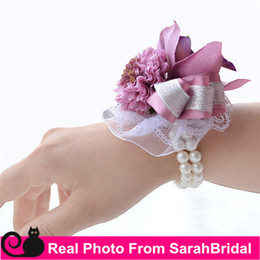 Wholesale Chinese Bag Cheap - WF055 Purple Champagne Silk Flowers Wedding Wrist Flowers 2016 Beach Bridal Bridesmaid Quinceanera Prom Girls Corsage New Cheap Sale Summer