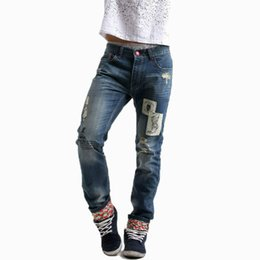 Wholesale Water Wash Jeans Male - 2016 Men's jeans full straight length jeans pants fashion slim water-washed male ripped Jeans free shipping