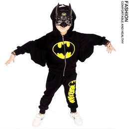 Wholesale Cosplay Sweaters - 2016 Children Hoodie batwing sleeve Sweater Two-piece Sets Mask+hoodie coat+pants Kids holloween clothes cosplay costume EMS DHL free