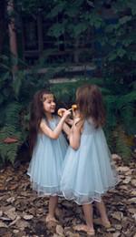 Wholesale Vestidos Azul - 2016 Nueva Caliente de Alta Calidad Encantadora Kids Balón vestido Chinita Hermoso Azul Fiesta de Comunión Desfile Vestidos de Niña para La