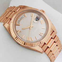 Wholesale roman factory - Factory Supplier Luxury AAA mens watches Sapphire rose gold Day Date 40mm 228235 Automatic Mechanical Roman dail Men's Wristwatches
