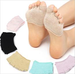 Fischfußkettchen online-Yoga Socken Baumwolle Fünf Zehensocken Frauen Sport Fitness Socke Gym Dance Strumpfwaren Sommer Fisch Mund Socken Mode Halb Unsichtbare Fußkettchen B2697