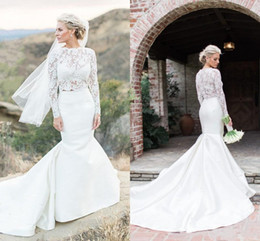 Wholesale Long Sleeve See Through Shirt - 2 Pieces Mermaid Wedding Dresses Long Sleeve See Through Lace Top Satin Skirt Bridal Gowns Sweep Train Custom Size