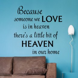 Wholesale Small Wall Quote Decals - LOVE HEAVEN IN OUR HOME Vinyl Wall Stickers Quotes Removable Vinyl Decal Inspirational Quotes Living Room Home Art Decoration