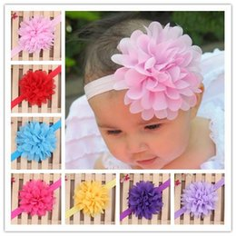 Wholesale Thin Elastic Baby Headbands - Baby Headbands Mini Chiffon Flower Thin Elastic Bands Toddler Girls Headbands Newborn Headbands Hair Band