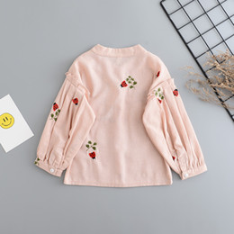 Wholesale Girls Princess Long Sleeve Shirt - Cartoon Baby Girls Shirts New Autumn beetle Embroidery Long Sleeve Kids Princess Tops Autumn Children Ruffle Sleeve Blouses C1897