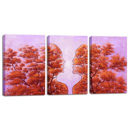 Wholesale Rooms Painted Orange - Abstract Art Painting, 3 Panels Canvas Art Modern Painting Printed on Canvas Wall Art for Living Room Bedroom Wall Decoration Orange