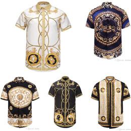Wholesale Vintage White Sweater - Wholesale- Men Vintage Harajuku Medusa Shirt Hipster Gold Stripe Spring Autumn 3D Printing British Sweater Shirt Teens Short Sleeve Top