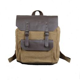 Wholesale Vintage Military School Bag - Vintage Quality Men Canvas Leather Travel School Backpack Outdoorl Shoulder Bag Military Satchel Hiking Bags