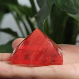Wholesale Crystal Pyramids - Wholesale HJT 82g Natural red fused crystal pyramid nunatak Reiki Healing fused crystal quartz pyramid decoration 32mm-52mm
