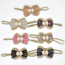 Wholesale Nylon Infant Headbands - Baby Flower Bow Headband Matching Pearl Lace Nylon and Flax Vintage Bandeau Infant Hair Bow Newborn Photography Props 24pcs lot QueenBaby