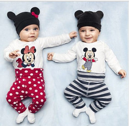 Wholesale Organic Child Hat - Mickey cartoon baby leotard (long-sleeved Romper + hat + trousers) children spring & autumn Romper boy suit free shipping 3set A40