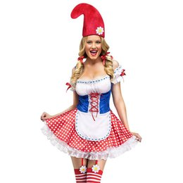 Wholesale Disfraz Sexy - Wholesale-New 2016 Sexy Garden Gnome Costume for women carnival costumes for Adult Cosplay Party dress with hat disfraz halloween LC8927