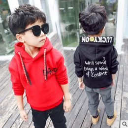 Wholesale Long T Shir - Boys clothing Hoody New 2017 Children's Smile Hoodies Boy T-shirt Long-sleeved Leisure Letter Beauty Shir 2 Colors Size2-8 ly432