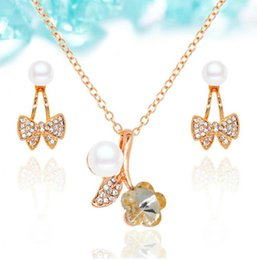 Wholesale Pearl Necklace For Flower Girls - Fine Crystal Jewelry Sets Flower Necklace Earrings Set 18k Pearl Jewelry Set For Women Best Gift Jewelry 2016083-080